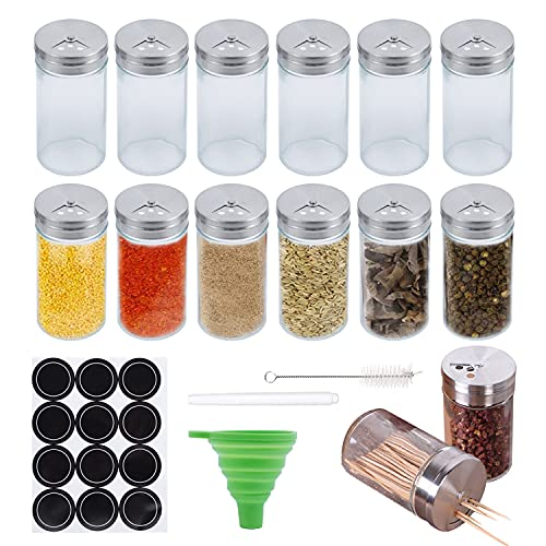 12er Set Gewürzglas- Gewürzgläser Quadrat Glasbehälter Füllmenge 120 ml,Perfekt für unsere 4 Gewürzregale - 120 ml, 10,5 x 4,3 cmVerschiedene Streuer-Platz (12pack)