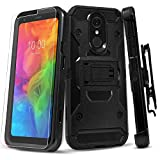 STARSHOP Compatible For -LG Stylo 4 Phone Case, [Not Fit Stylo 5] with [Tempered Glass Screen Protector] Heavy Duty 12 Feet Drop Protection Kickstand Phone Cover and Locking Belt Clip- Black