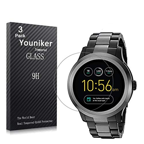 Youniker 3 Pack Fossil Q Founder Gen 2 Screen Protector Tempered Glass,Fossil Q Founder 2nd Gen Screen Protector Foils Glass 9H Hardness 0.3MM Slim,Anti-Scratch, Anti-Fingerprint,Bubble Free