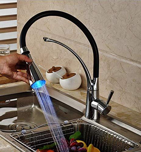 Creative-Idea Robinet de Cuisine Lumineux /à LED Mitigeur Robinet d/évier pivotement Noir lavabo Cuisine Laiton /Évier Bec