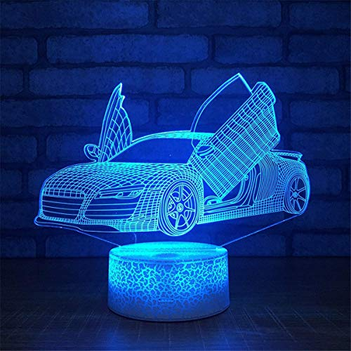 Kreative 3D Racing Auto Lampe Nacht Licht USB Power 7 Farben Amazing Optical Illusion 3D LED Lampe Formen Kinder Schlafzimmer Geburtstag Weihnachten Geschenke