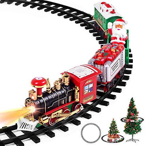 Christmas Train Set - Toy Train Set with Lights and Sounds, Round Railway Tracks for Under/Around The Christmas Tree, Best Gifts for 3 4 5 6 7 8+ Year Old Kids Boys Girls