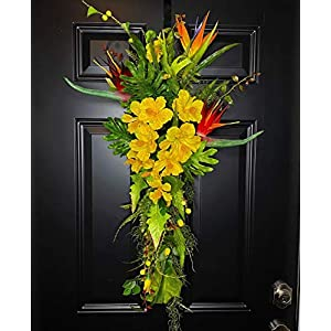 Tropical Summer Floral Teardrop Swag Wreath for Front Door with Hibiscus & Bird of Paradise Flowers, Coastal Beach Home Decor, Artificial, Handmade, Multicolored, 36 Inch