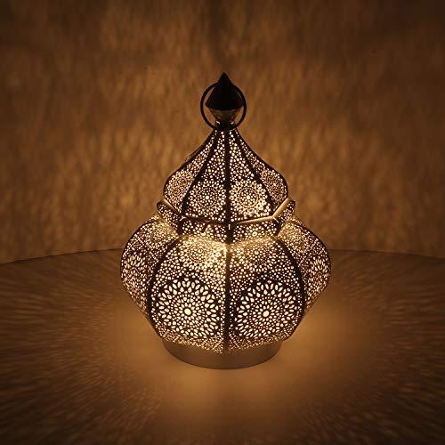 Casa Moro Orientalische Laterne Alima Weiss Gold 30cm aus Metall | hängend oder stehend | Vintage Tischlaterne für Hochzeit Feier Dekoration Geschenk | LN2050