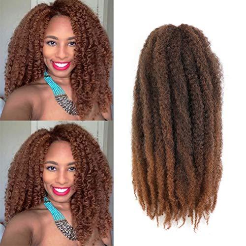 """Cuban Twist Braid Marley Hair For Twists Afro Kinky Marley Braiding Hair 16 Inch Marley Crochet Hair 6packs Marley Braid Hair Marley Twist Hair (16""""-6 Packs, T30#)"""