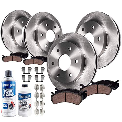 Detroit Axle - All (4) Front and Rear 6LUG Disc Brake Kit Rotors w/Ceramic Pads w/Hardware & Brake Kit Cleaner & Fluid for 2010 2011 Ford F-150 6 Lug Models