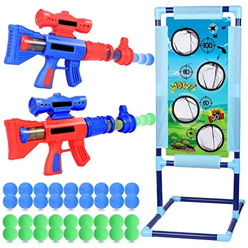 NZQXJXZ 2 Pack Air Powered Shooter Guns & Standing Shooting Target, Shooting Games Toy with 36 Foam Balls, Popper Gun Shooter Set for Age 6, 7, 8, 9, 10+ Years Old Boys & Girls