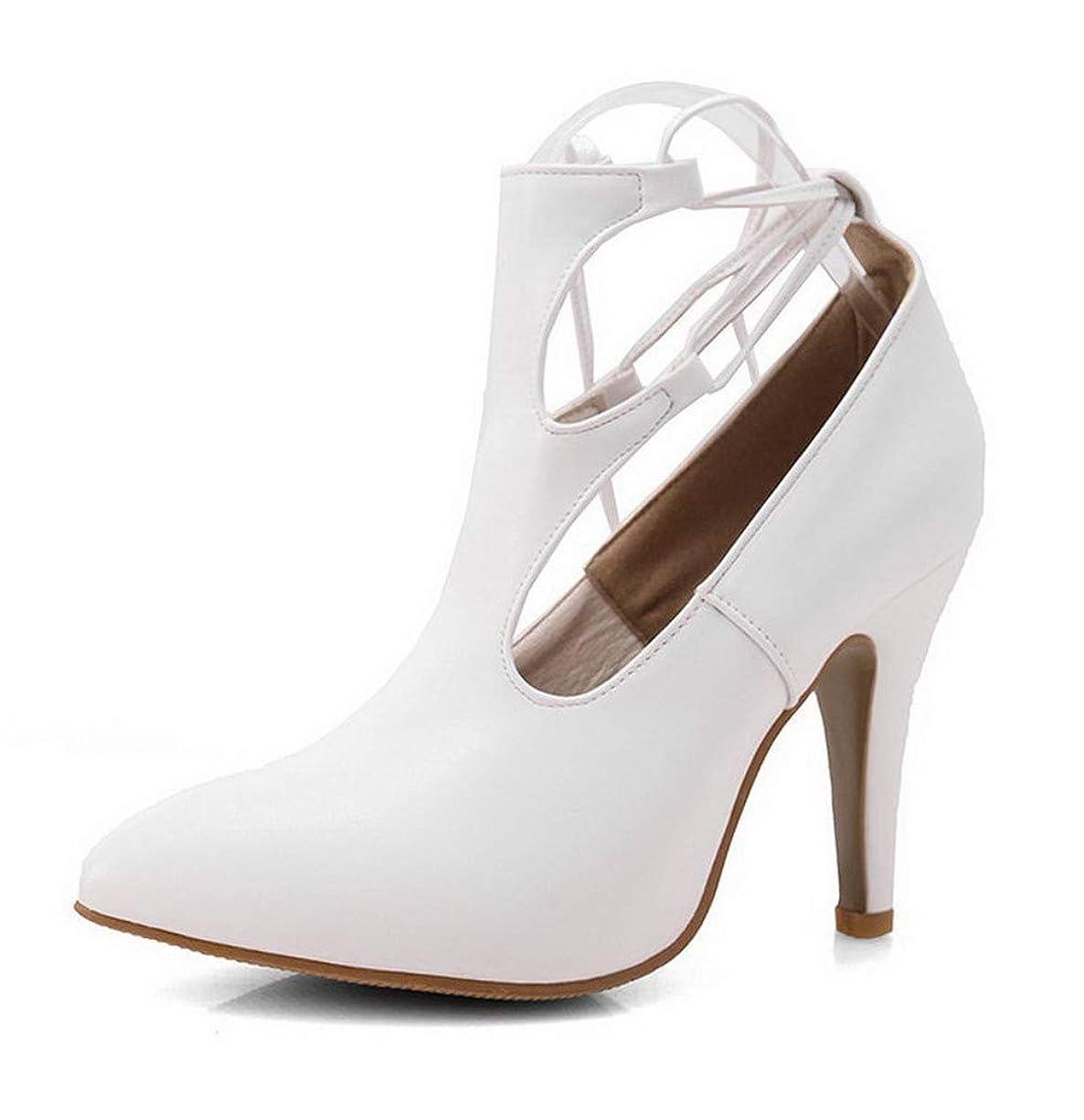 ロデオマンモスランデブー(オールエイチキューファッション) AllhqFashion レディース クローズドトゥ ショート ハイヒール 純色 PUの皮 ブーツ FBUXD023488