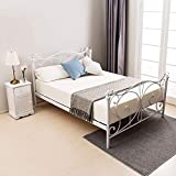 mecor 4FT6 Double Bed Frame, Metal Frame with Crystal Finials Headboard Footboard, Strong Wood Slat Support, No Box Spring Needed - White / 4FT6
