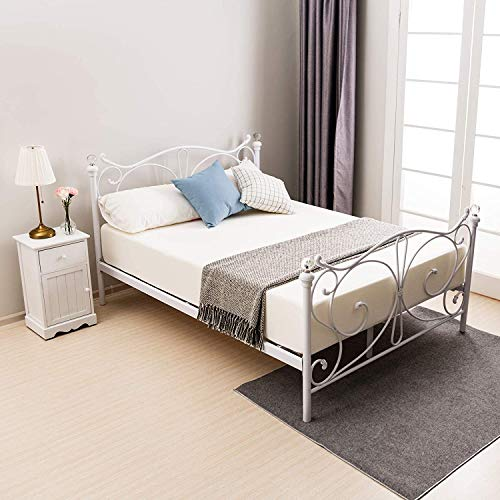 mecor 4FT6 Double Bed Frame 190x140cm, Metal Frame with Crystal Finials Headboard Footboard, Strong Wood Slat Support, No Box Spring Needed - White