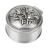Caja de joyería Vintage flor tallada diseño redondo Antique mujeres baratija joyería de aleación de zinc para anillo de almacenamiento