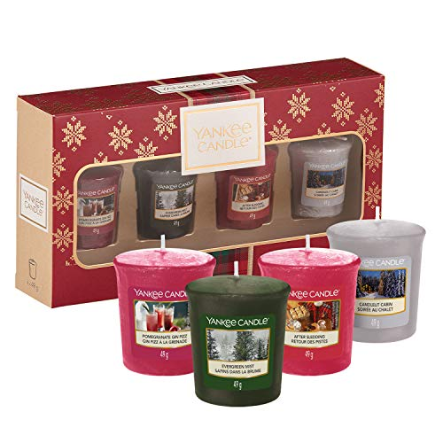 Yankee Candle Set de Regalo con 4 Velas Votivas Aromáticas, Colección Alpine Christmas, Estuche de Regalo Navideño