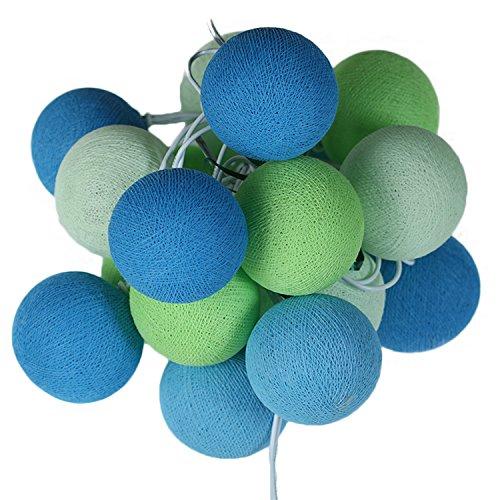 ART-CRAFT LED Stimmungs Textil-Lichterkette batteriebetrieben mit 20 handgefertigten Baumwollkugeln Leuchtfarbe grün blau weiß