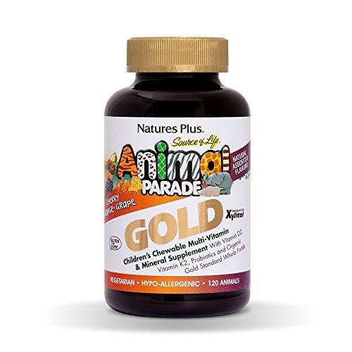 NaturesPlus Animal Parade Source of Life Gold Children's Multivitamin - Assorted Cherry, Orange & Grape Flavors - 120 Chewable Animal Shaped Tablets - Vegetarian, Gluten-Free - 60 Servings