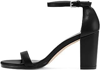 elashe- Sandali Donna con Tacco - 8CM Tacco a Blocco Sandali - con Cinturino alla Caviglia - Sandali a Punta Aperta Donna