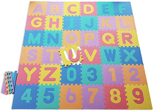Happykiddoos ABC/123 Mehrfarbig Schaumstoff Puzzle spielmatten. Alphabet und Zahlen. 121 TLG. Inkl. Kanten und Aufbewahrungstasche. Gesamtgröße Spielmatte 182x182x1cm (ABC/123