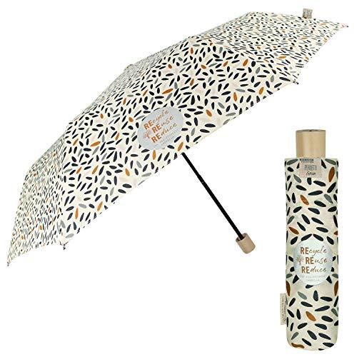 PERLETTI Green Paraguas Plegable de Viaje Antiviento Ecológico para Mujer - Mango de Madera Biodegradable con Apertura Manual - Paraguas Mini Compacto Ligero Eco Sostenible (Beige con Semillas)