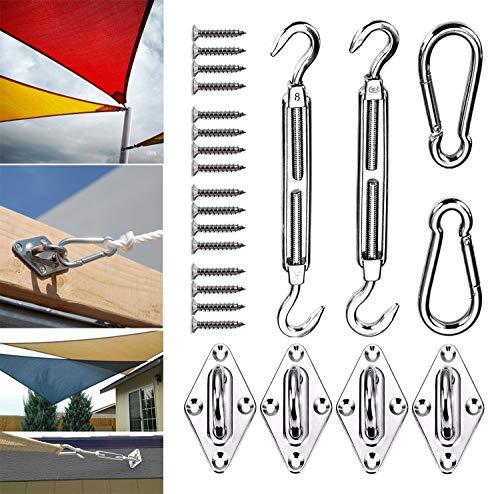 Kit de fijación de toldo M8 resistente para jardín, triángulo y cuadrado,...