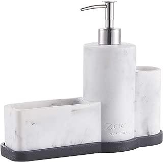 ZCCZ Soap Dispenser with Sponge Holder Brush Holder, Marble Pattern Dish Hand Soap Dispenser Pump Bottle Caddy Set Sponge Caddy for Kitchen Sink Bathroom Countertop