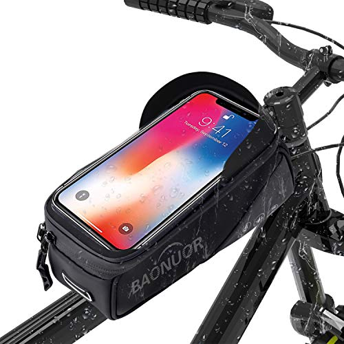 BAONUOR Fahrrad Rahmentasche Fahrrad Handytasche für iPhone 8 Plus/7/6s Plus/6 Plus/Samsung s7 Edge andere bis zu 6,5 Zoll Smartphones, Wasserabweisende Fahrrad Lenkertasche GRAU