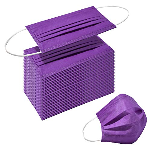 Face Masks of 50pcs Disposable Breathable Mask 3 Layer Dust Safety Mouth Cover with Elastic Ear Loop for Adult Men & Women Purple