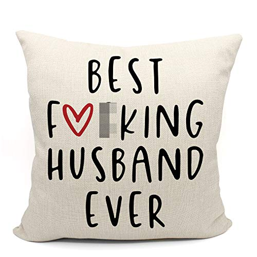 Mancheng-zi Best Husband Ever Throw Pillow Case, Funny Husband Gift, Husband Birthday Gift, Long Distance Relationship Gifts, 18 x 18 Inch Linen Cushion Cover for Sofa Couch Bed