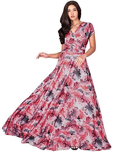KOH KOH Petite Womens Long Flowy Short Cap Sleeve Floor Length Modest Elegant V-Neck Floral Print Casual Spring Summer Sundress Sun Gown Gowns Maxi Dress Dresses, Red & White S 4-6