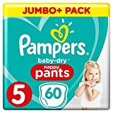 Pampers - Baby Dry Pants - Couches-Culottes Taille 5 (12-17 kg) - Jumbo+ Pack (x60 Culottes)