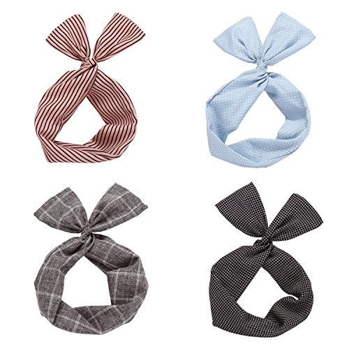 Sea Team Twist Arc Bandeaux Wired Headband foulard Wrap Accessoire cheveux (4 Packs) (Multicolore)