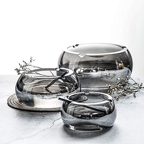 KXT Cenicero creativo de cristal de tamaño doméstico, personalidad, sala de estar, oficina, platillo de cigarrillos extra grande (tamaño: diámetro: 12 cm)