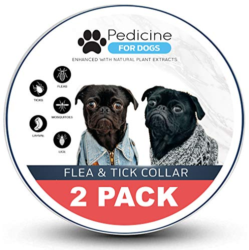 Pedicine Dog Flea Collar (2 Pack) for Flea and Tick Treatment and Prevention | One Size Fits All, Collars Work for Dogs and Puppies, 100% Natural | for Large and Medium Dogs