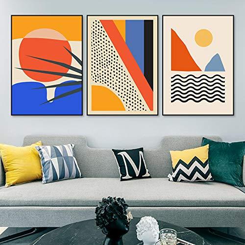 Escena abstracta geométrica Escandinavia Pintura de la lona Arte de la pared Impresiones Cartel para la imagen de la galería Sala de estar Decoración del hogar 60X90cmX3pcs Sin marco