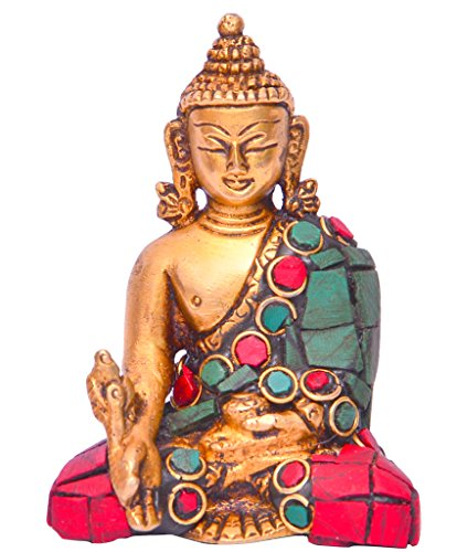Purpledip Healing Medicine Lord Buddha Statue in Solid Brass Metal with Turquoise Gem-Stone Work for Home Temple, Office Table or Shop Counter (10642)