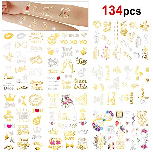 Konsait 134PCS Bachelorette Party Tattoos, Team Bride Temporary Tattoos for Girls Night out Hen Party Accessories, Wedding Night & Bachelorette Party Hen Do Accessories Great Party Favor Supplies