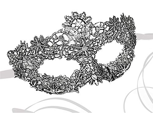 Womens Lace Venetian Masquerade Prom Halloween Carnival Mask Ball (Stunning Silver)