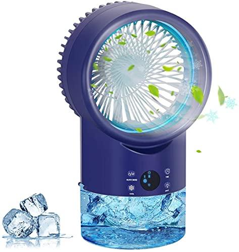 Condizionatore portatile,Raffreddatore d Aria Mini Condizionatore Portatile Evaporativo,4 in 1 Aria Climatizzatore Portatile,3 velocità,7 LED Air Cooler Umidificatore Purificatore Ventilatore