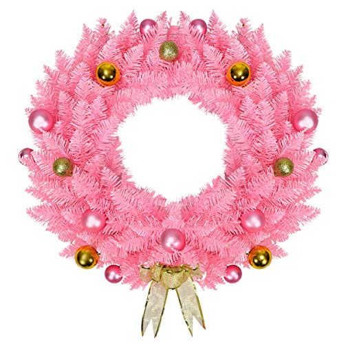Goplus Pink Artificial Christmas Wreath, with Ornament Balls and Golden Bow, Perfect Xmas Decoration for Doorways Windows Walls Fireplaces, 24 inch