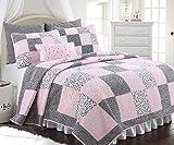 Cozy Line Home Fashions Vivinna Baby Pink White Black Grid Flower Pattern Patchwork Cotton Bedding Quilt Set Coverlet Bedspreads for Kids Girls Women(Pink/Black, King - 3 Piece)