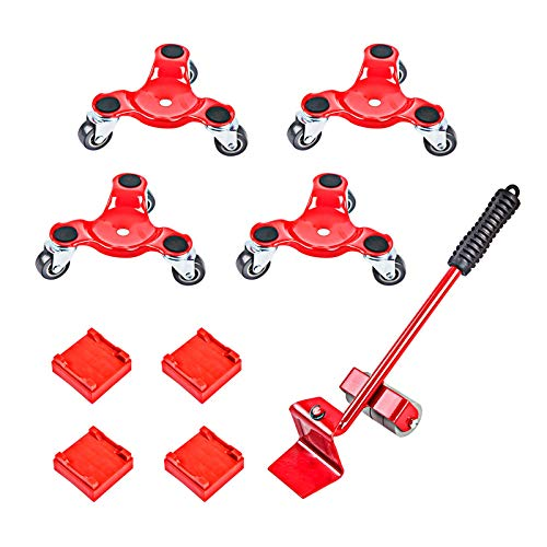 Furniture Dolly with Casters Triangle Iron Mover Heavy Moving Tool with Universal Wheel Portable Mover with Crowbar Three Wheel Mover Dolly for Furniture Heavy Objects 4 Packs with 1 Crowba (Red)