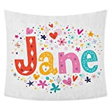jecycleus Jane Wall Large Tapestry for Bedroom Cartoon Style Festive Celebratory Design Rhombuses Flowers and Snowflakes Baby Name Trippy Tapestry Wall Decor W70.5 x L59 Inch Multicolor