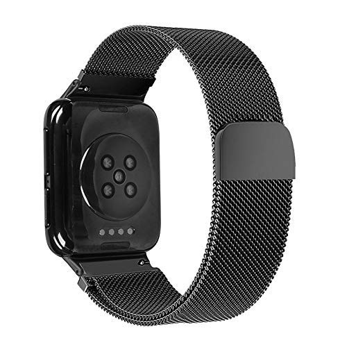 Watch Strap for Oppo Watch 46MM Smart Watch Milanese Stainless Steel Metal Strap (Black) (Color : Rose)