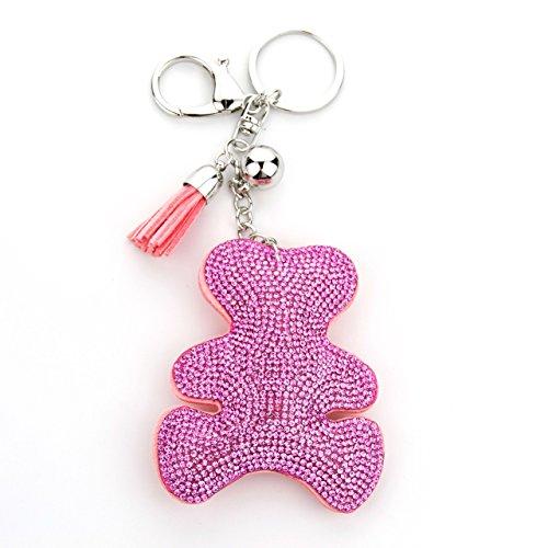 MANUMAR Schlüsselanhänger Handtaschen Dekoration in Teddy-Bär-chen Motiv aus glitzernden Strass Steinen mit Kordel und Fransen Geschenkidee