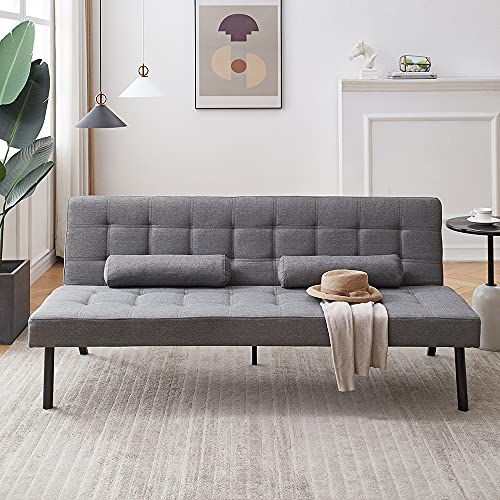 Modern Sofa Bed 3 Seater Fabric Grey Sofa Sleeper Click Clack Sofa Settee Recliner Couch with Metal Legs for Living Room Guest Room Lounge Office, With 2 Free Cushions