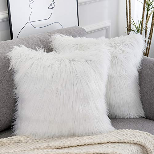 WLNUI Set of 2 Decorative White Fluffy Pillow Covers New Luxury Series Merino Style Faux Fur Throw Pillow Covers Square Fuzzy Cushion Case 18x18 Inch
