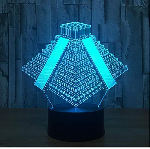 Pirámide en México Luz 7 colores Lámpara cambiante Usb