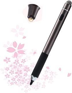Kingmas タッチペン 極細 1.6mm 銅製ペン先 導電繊維ペン先 両端使え スマートフォン タブレット スタイラスペン iPad iPhone Android Surfaceペン USB充電式 電子ペン 静電容量式タッチパネル専用タッチペン(ブラウン)
