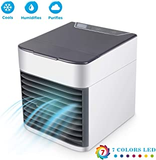 AYCEAN Mini Air Conditioner, Evaporative Air Cooler Personal Cooling Fan/USB Portable Air Conditioner Desk Cooler Air Ice Fan Ultra Humidifier with 6 Speeds & 7 Color Lightsfor Office Home Room