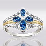 Soolike 925 Anillos de Plata de Diamantes, Anillo Hueco de Dos Tonos con Personalidad Anillo de Circonita de Diamantes, Anillo de Amor, Anillos de Circonio