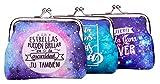 Lote 24 Monederos Universo Galaxia con Frases - Monederos Originales y Baratos para Detalles de Bodas, Bautizos, Comuniones, Cumpleaños y Eventos
