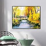 ganlanshu Pintura al óleo Lienzo de Arte póster en pequeño Puente sobre el río Sala Moderna decoración de la Pared del hogar,Pintura sin Marco,60x75cm